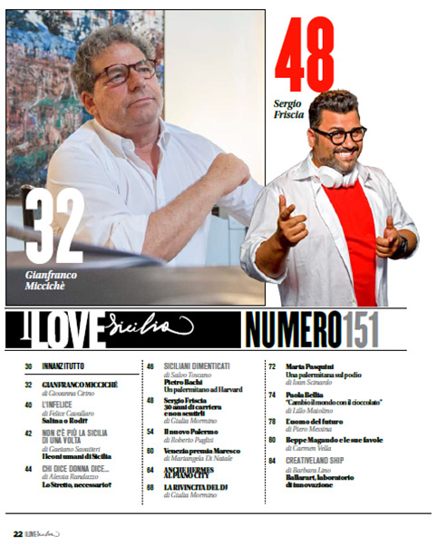 Sommario del mensile i love sicilia 151 su Gianfranco Miccichè